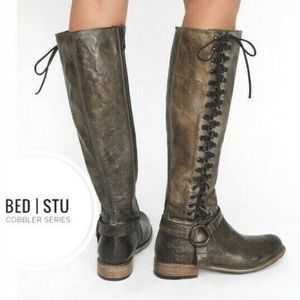 NWOB Bed Stu Burnley Lace-up Corset Tall Boots